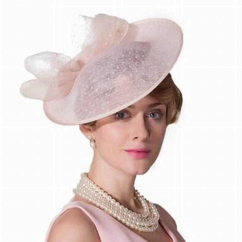 Woman Elegant Pink Royal Weddings Hats Ladies Linen Pillbox Hat Sinamay Derby Dress Summer Cocktail Fedora