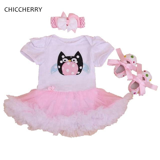 7d4218d106d0 Owl Applique Baby Girls Dress Cotton Infant Lace Tutus Headband Cribs Shoes  Set Vestidos Toddler Outfits