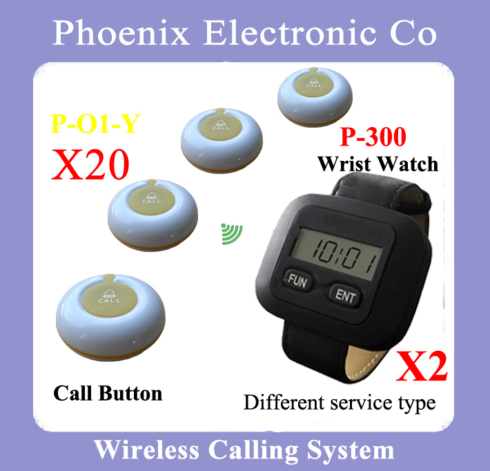 2016 New Wireless Restaurant Pager Order System With 20 Waitress Bell & 2 Bell Watch Pager P-300,Hot Sale restaurant pager watch wireless call buzzer system work with 3 pcs wrist watch and 25pcs waitress bell button p h4