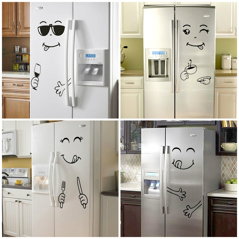 Cartoon Smile Face Wall Sticker Happy Delicious Face Fridge Stickers Yummy for Food Furniture Decoration Art Poster DIY PVC