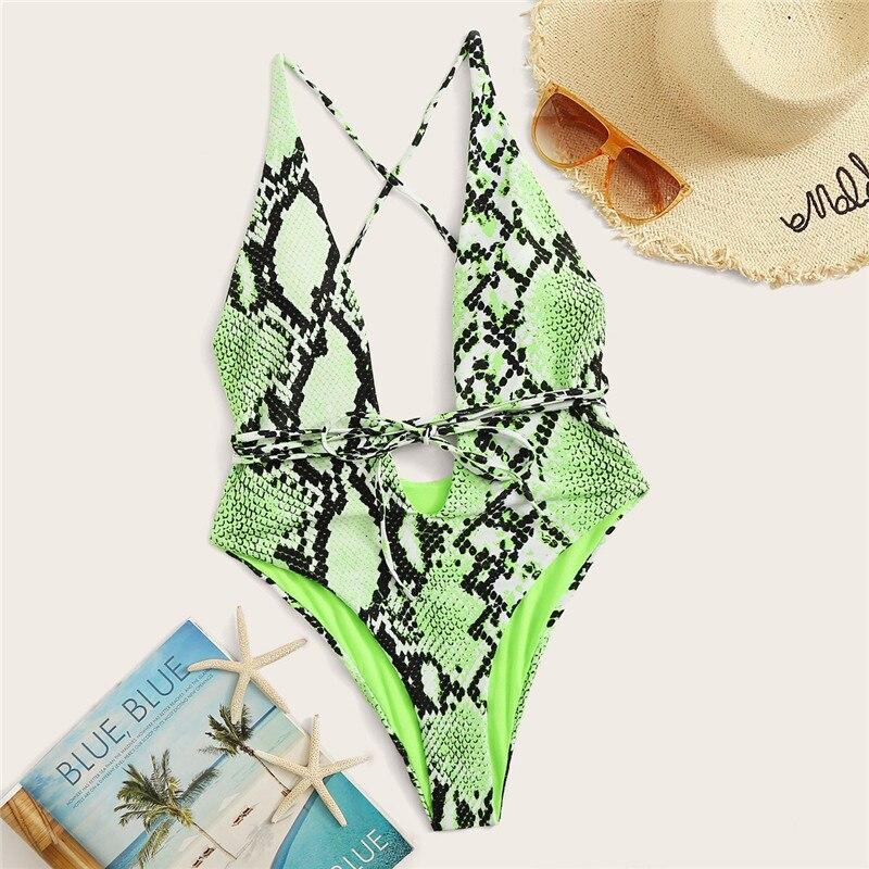 Deep V Neck One Piece Swimwear 14