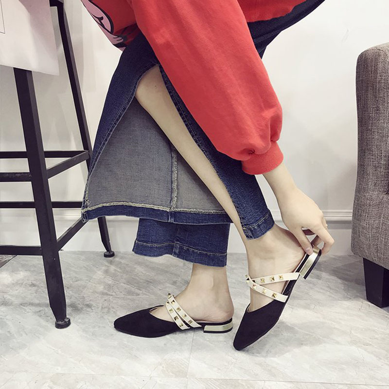 Women Slippers Flat Shoes Pointed Toe Slides Women Mules Shoes Slip On Flat Outdoor NEW Fashion Rivet Ladies Shoes Slippers Lady pointed toe flat mules