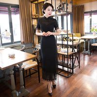 New Arrival Black Wedding Cheongsam Dress Lace Embroidery Chinese Traditional Dress White Robe Chinoise Longue Size