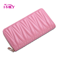 HMILY Genuine Leather Wallets for Women sheep skin Day Clutch Bag High Quality Zipper Purses Long Style Women phone case