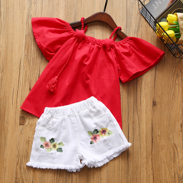 Girls Off Shoulder Clothes Set Lovely Blouse Shirt and White Floral Shorts Pants Clothing Set New Brand Fashion Girl Set acq100 100 b type airtac type aluminum alloy thin cylinder all new acq100 100 b series 100mm bore 100mm stroke