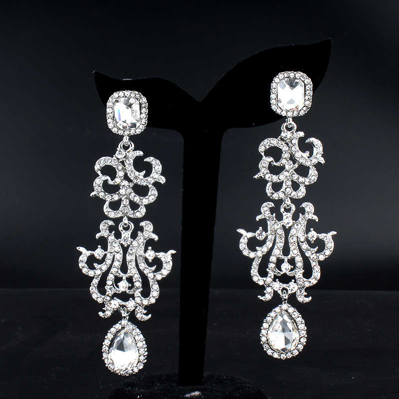 Women's Wedding Jewelry Earrings for Glamour Bridal Dress Accessories White Crystal Long Earrings new