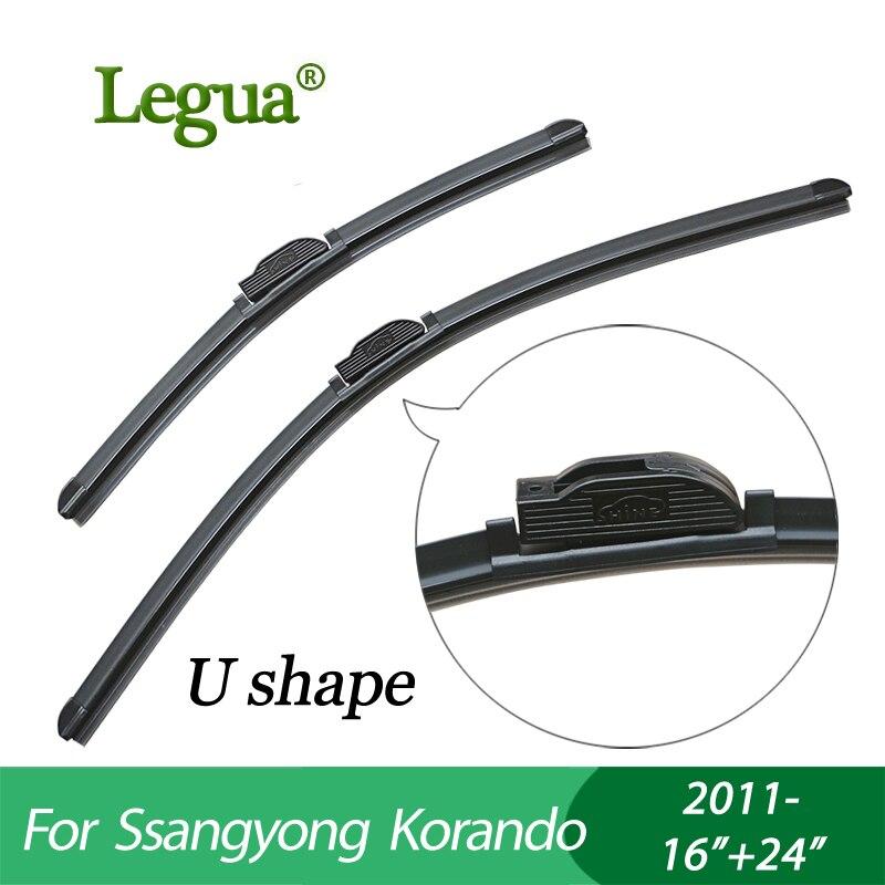 Legua pare-brise de voiture d'essuie-glace lames pour Ssangyong Korando (2011-), 16 + 24, Désossé, pare-brise, caoutchouc d'essuie-glace