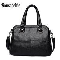 Bonsacchic Ladies Genuine Leather Handbags Luxury Handbags Women Bags Designer Black Women Handbags Small Crossbody Bags