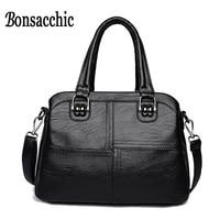 Bonsacchic PU Women Leather Handbags Black Luxury Handbags Women Bags Designer Ladies Handbags Small Crossbody Bags