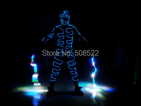 Tron light suits / Luminous costume / Robot suits / El wire dance costume / clothing / suits / Size/ color customized