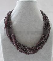 song voge gem nanJ1395 6row natural garnet chip necklace cat eye flower GP clasp