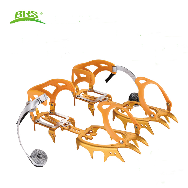 BRS-S3 Ultralight 14 Teeth Aluminium Alloy Bundled Crampons Ice Gripper Outdoor Ice Climbing kits Snowfield Walking round snow ice climbing mountaineering shoes crampons orange pair
