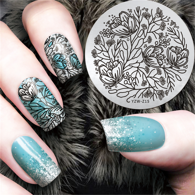 Lcj Latest 55cm Round Nail Template Flower Nail Art Plate