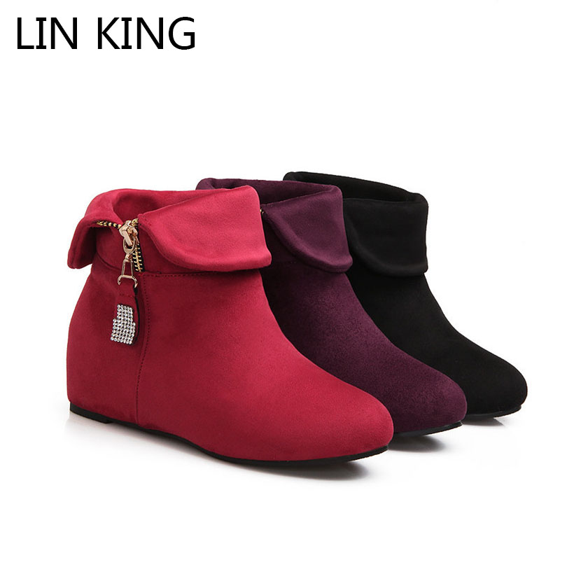 LIN KING Big Size Flock Women Winter Boots Fashion Zipper Martin Boot Vintage Height Increase Ankle Boots Warm Plush Short Shoes robe bilbao