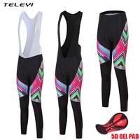 TELEYI Spring Autumn 2017 Women Cycling Pants Bicycle Tights Sportswear Gel Padded Tights Ladies Long Bib