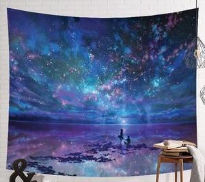 Image 1 - CAMMITEVER Raum Starry Sky Sternenlicht Wandteppich Hängen Multifunktionale Tapisserie Boho Gedruckt Bettdecke Abdeckung Yoga Matte