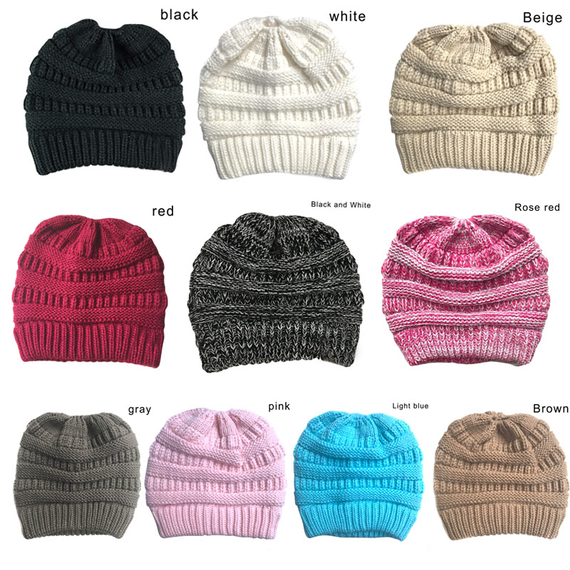 Beanie Tail Winter Soft Stretch Cable Knit Messy High Bun Ponytail Beanie Hat H9