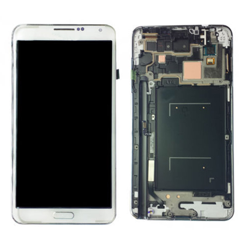 White LCD Display Touch Screen Digitizer Glass Assembly + Frame For Samsung Galaxy Note 3 N9005