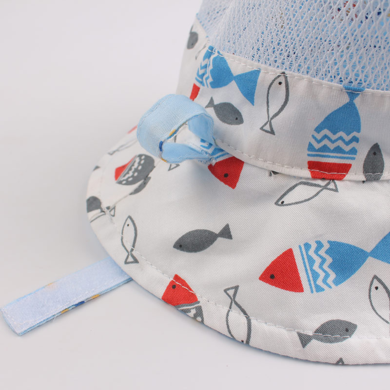 Reversible Mesh Baby Bucket Sun Hat Infant Boys Girls Summer UV Protection Cap with Wide Brim Fashion Cotton Bonnet Chinstrap Stay On (12)