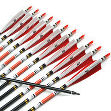 12pcs New 31″ Aluminum Arrow with Turkey Feather for Traditional bow or Compound bow Hunting