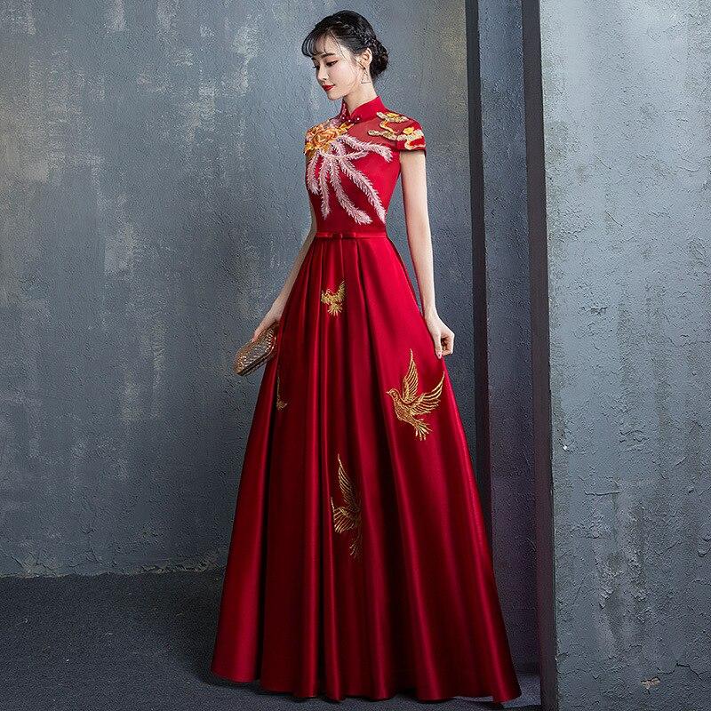 2019 New Chinese Style Collar Wedding Reception Retro Evening Dress