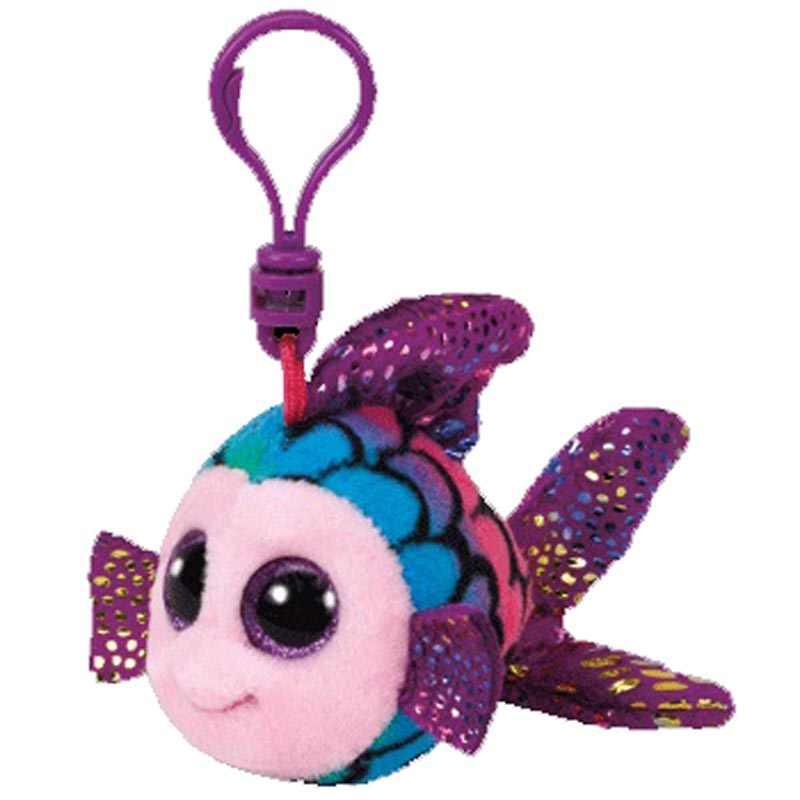 Ty grandes olhos de pelúcia flippy o brinquedo colorido do chaveiro do peixinho dourado