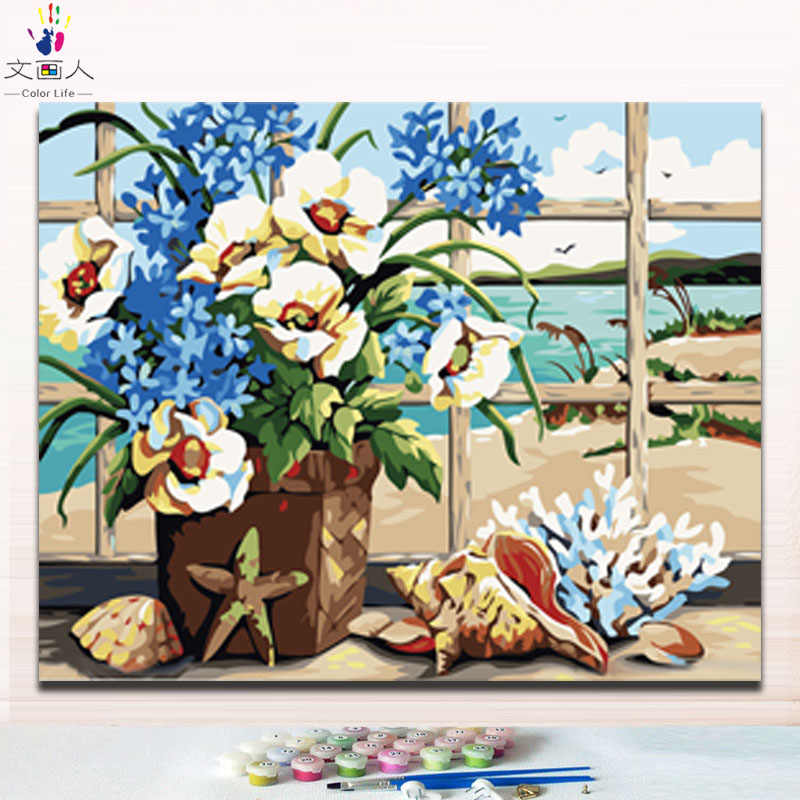 Painting by numbers flowers seaside conch pictures coloring by numbers with paint colors on canvas handmade for hoom decoration
