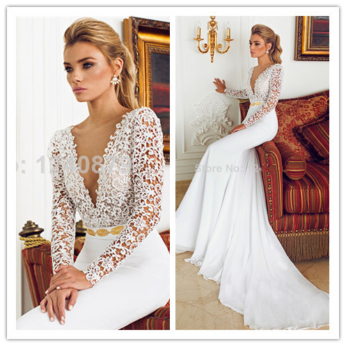 42a15565c8 Simple and elegant deep v neck long sleeve sheer tulle gold bead waist  design2014 couture sexy mermaid wedding dress