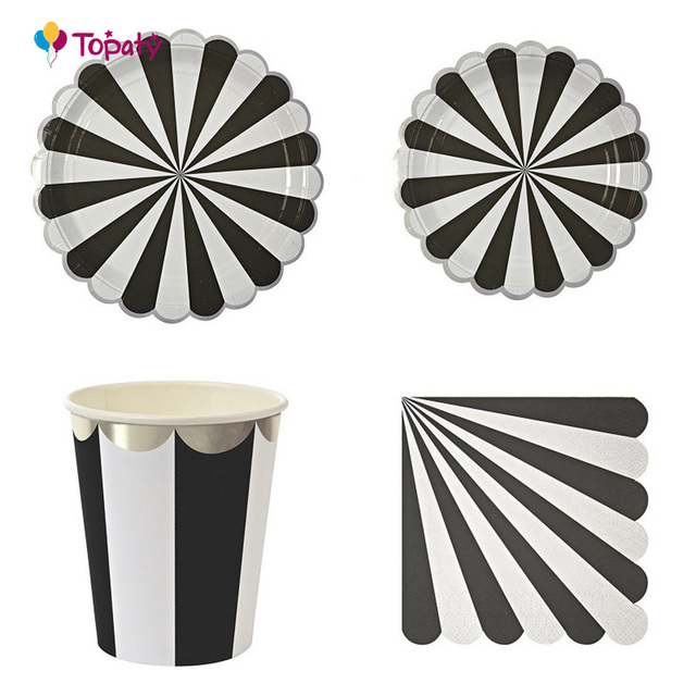 Party Paper Plates Napkins Cups Disc Disposable Tableware Metallic Stripe Theme Birthday Wedding Party Decoration  sc 1 st  AliExpress.com & Party Paper Plates Napkins Cups Disc Disposable Tableware Metallic ...
