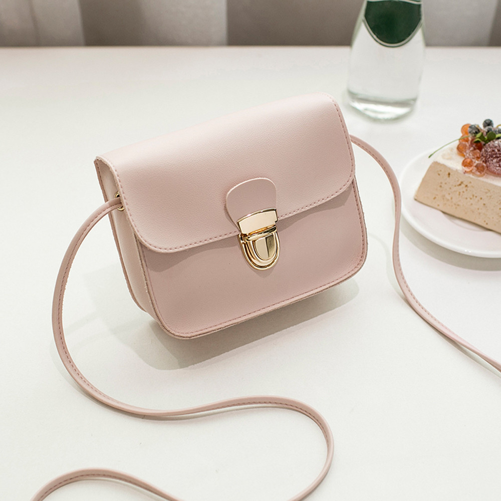 Women Messenger Bags Woman Bag 2018 Famous Brands Women Fashion Solid Color Cover Lock Shoulder Crossbody Phone Beach Bag Sac