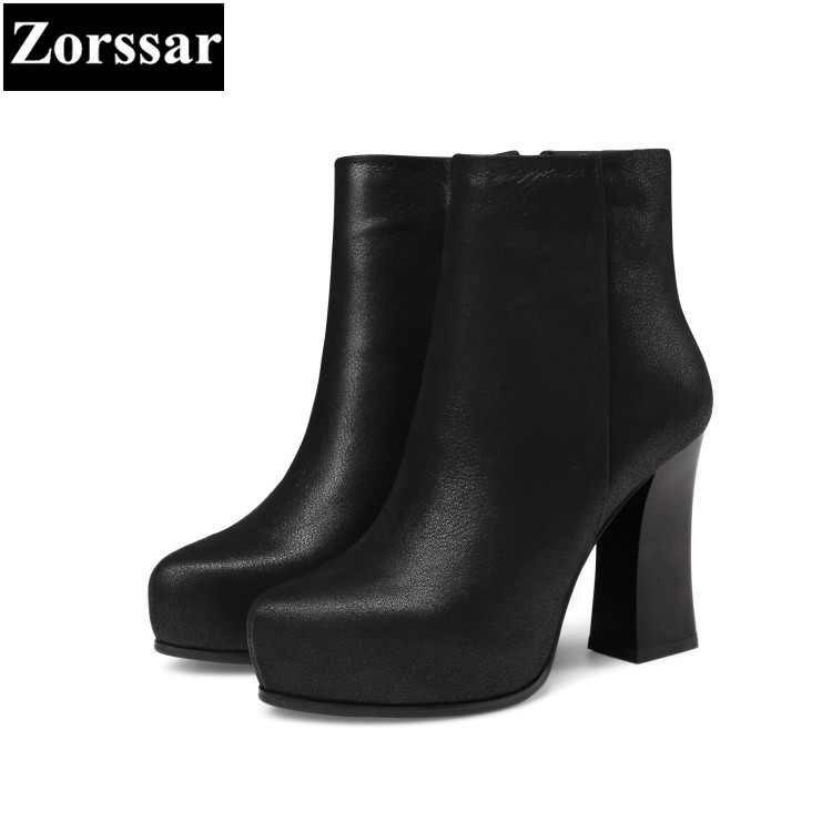 {Zorssar} 2018 NEW Large size Women Boots High heels zipper ankle platform boots Lady Martin boots Autumn winter womens shoes zorssar 2017 new winter ladies shoes fashion real leather women ankle boots high heels platform womens martin boots size 33 43