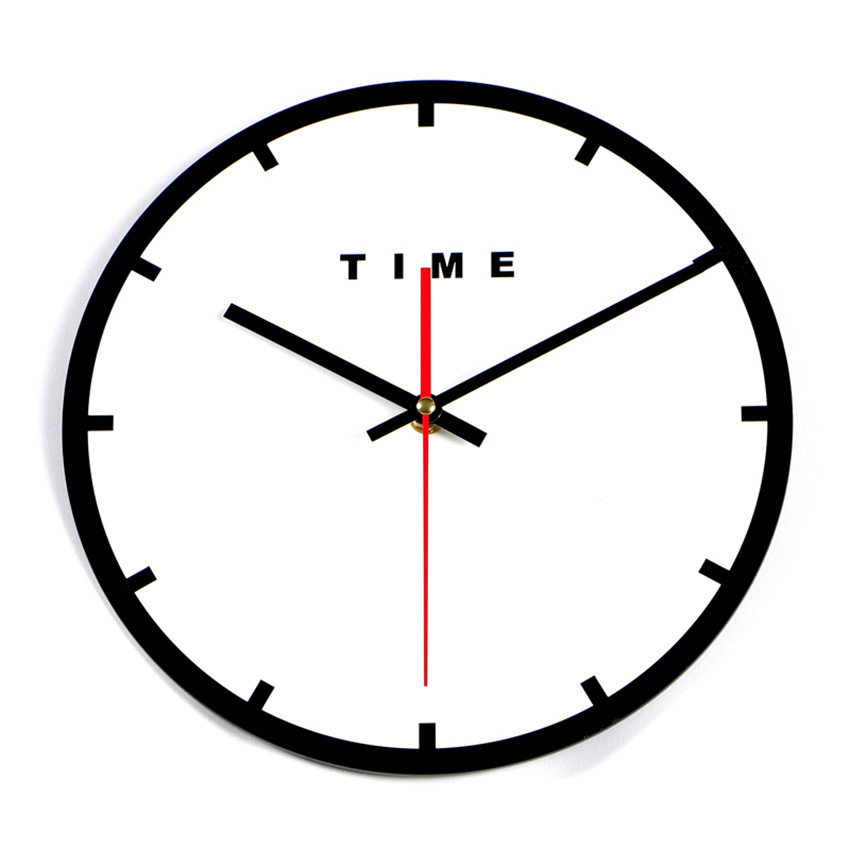 Baru 2017 Waktu Jam Dinding Jam Diam Hitam Putih Sederhana Dekorasi