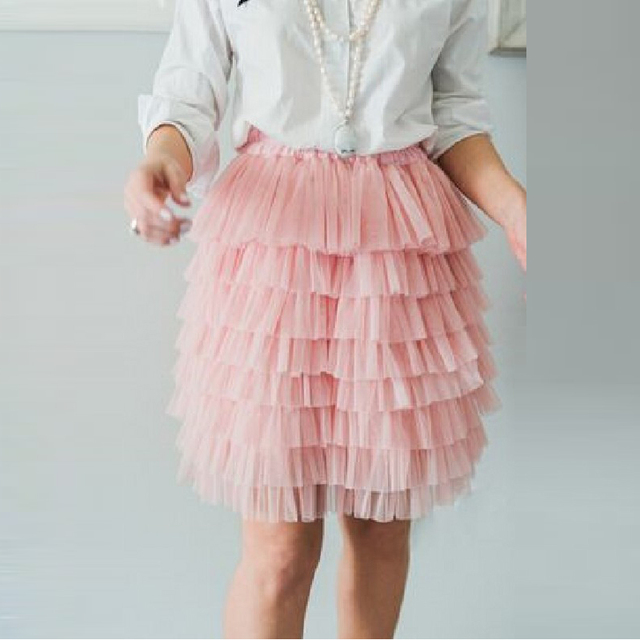 Tiered Rosa Ruffles Skirt Knee Donne Una Line Tulle Lunghezza Gonna EDWH92I