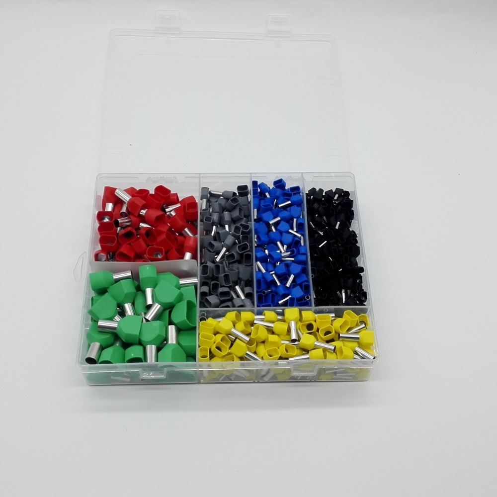 780pcs    Dual Bootlace Ferrule teminator Kit Electrical Crimp Dual entry cord end wire terminal connector