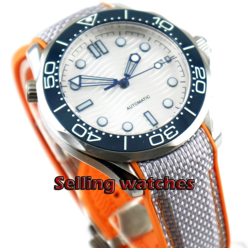 Luxury 41mm men's watch navy Silver dial super luminous saphire glass blue Ceramic Bezel Automatic movement wrist watch men