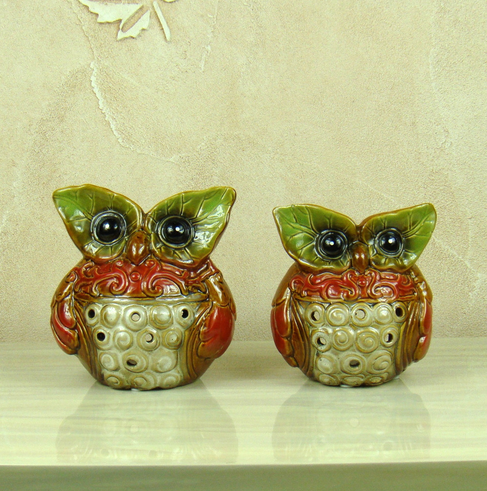 Candle Holders Porcelain Owl Figurine Candle Holder Ornamental Ceramics Nighthawk Miniature Tealight Stand Decoration Art And Craft Accessories