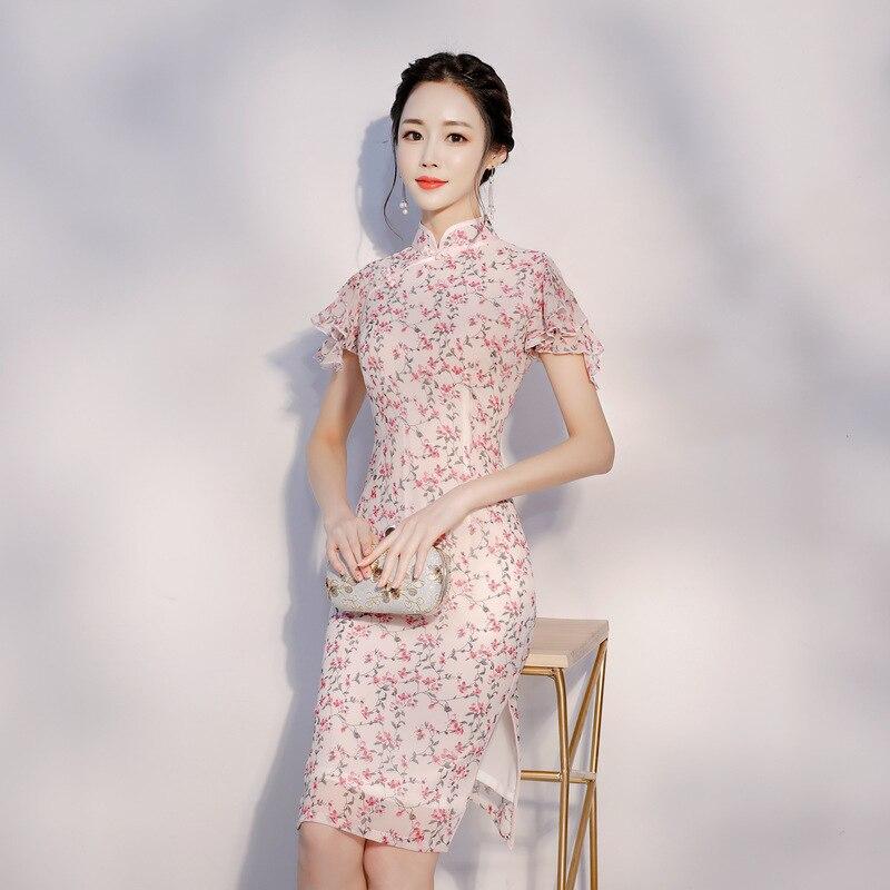 Women Elegant Cheongsam Chiffon 2020 NEW Floral Pink Qipao Chinese Traditional Ruffle Sleeve Slim Mandarin Collar Dress S-XXL