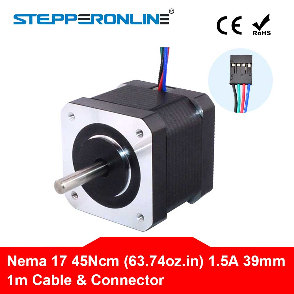 4-lead Nema 17 Stepper Motor 42 Motor 1.5A(17HS4401) 39mm 45Ncm 1m Cable Nema17 Step Motor for 3D Printer/CNC XYZ4-lead Nema 17 Stepper Motor 42 Motor 1.5A(17HS4401) 39mm 45Ncm 1m Cable Nema17 Step Motor for 3D Printer/CNC XYZ