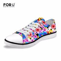 FORUDESIGNS Fashion Women S Casual Canvas Shoes Floral Design Women Low Vulcanized Shoes Flats Lace Up
