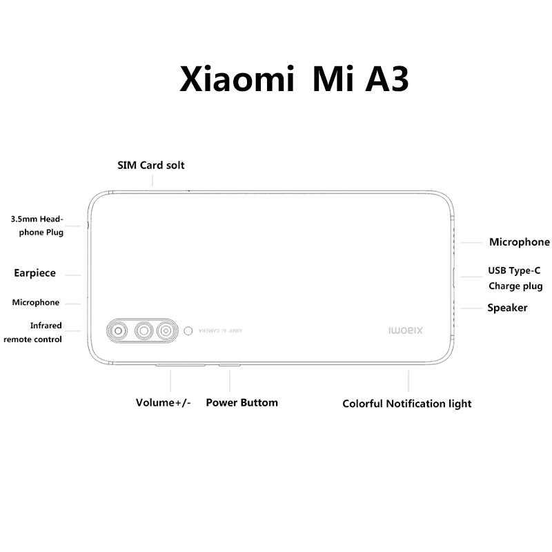 هاتف محمول أصلي من Xiao mi A3 بشاشة 6.088 بوصة AMOLED بذاكرة وصول عشوائي 4 جيجا بايت وذاكرة قراءة فقط 128 جيجا بايت وذاكرة وصول عشوائي 48 ميغا بيكسل ومعالج سناب دراجون 665 ومعالج ثماني النوى وشاشة 4030 مللي أمبير في الساعة