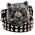 Fashion Metal rivet belt metal buckle men's belts cartoon animal tiger head heavy metal style belt punk rock big rivet belt