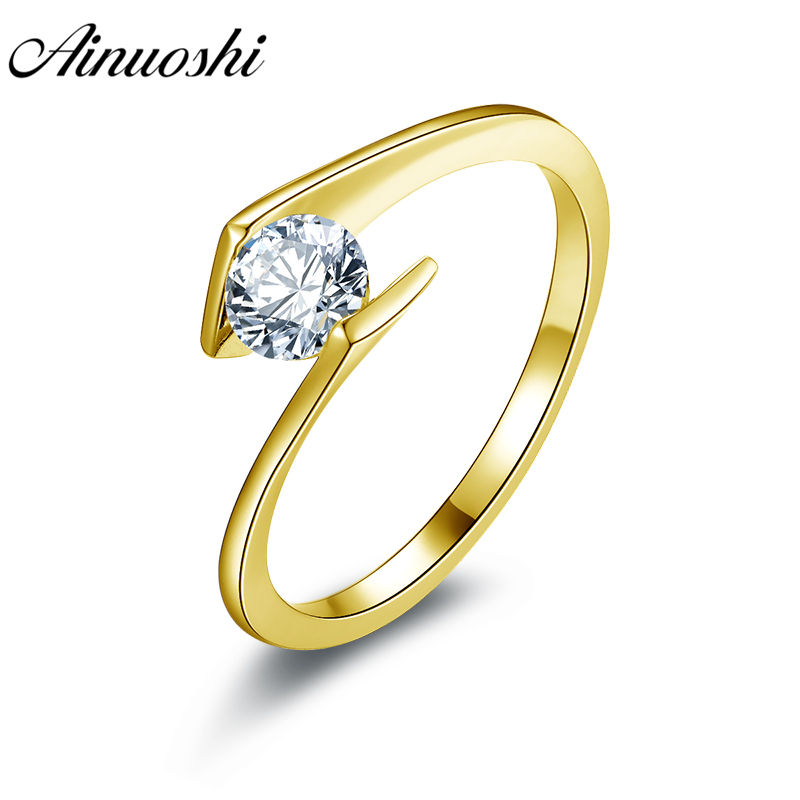 AINUOSHI Classic 14K Solid Gold Solitaire Ring Triangle Band Bezel Setting Round Sona Diamond Women Wedding