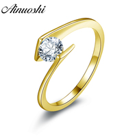 AINUOSHI 10K Solid Yellow Gold Solitaire Ring Bezel Setting Round Cut Sona Simulated Diamond Engagement Ring for Women
