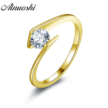 100% 10K Gold Yellow Solitaire Rings Hotting Sale Sona Synthetic Simulated Diamond Engagement Wedding Ring Jewelry Ring