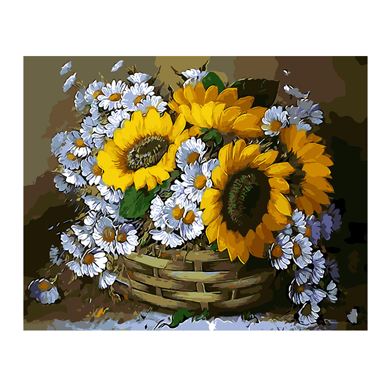 Yellow Sunflower Vase Oil Painting Pictures By Numbers