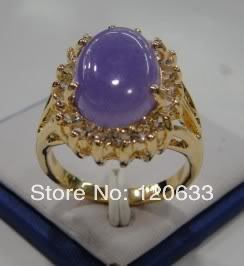 Noble beautiful pretty natural purple rings Size:7 8 9 rings Yellow GP rings for women sterling-silver-jewelry