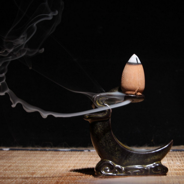 Backflow Buddha Ceramic Incense Burner Holder Buddhist