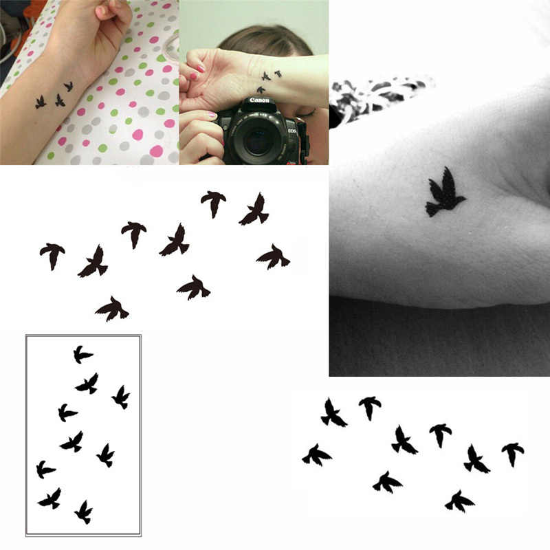 2Pcs/Set  Wrist Flash Tattoo Fake Tatto Black Birds Waterproof Temporary Tattoo Sticker For Body Art Women Tatoo