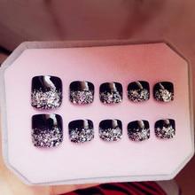 24Pcs Artificial Toe Nails Glitter Silver Black Fake Toenail French False Fashion Lady Nail Art Tips For Foot