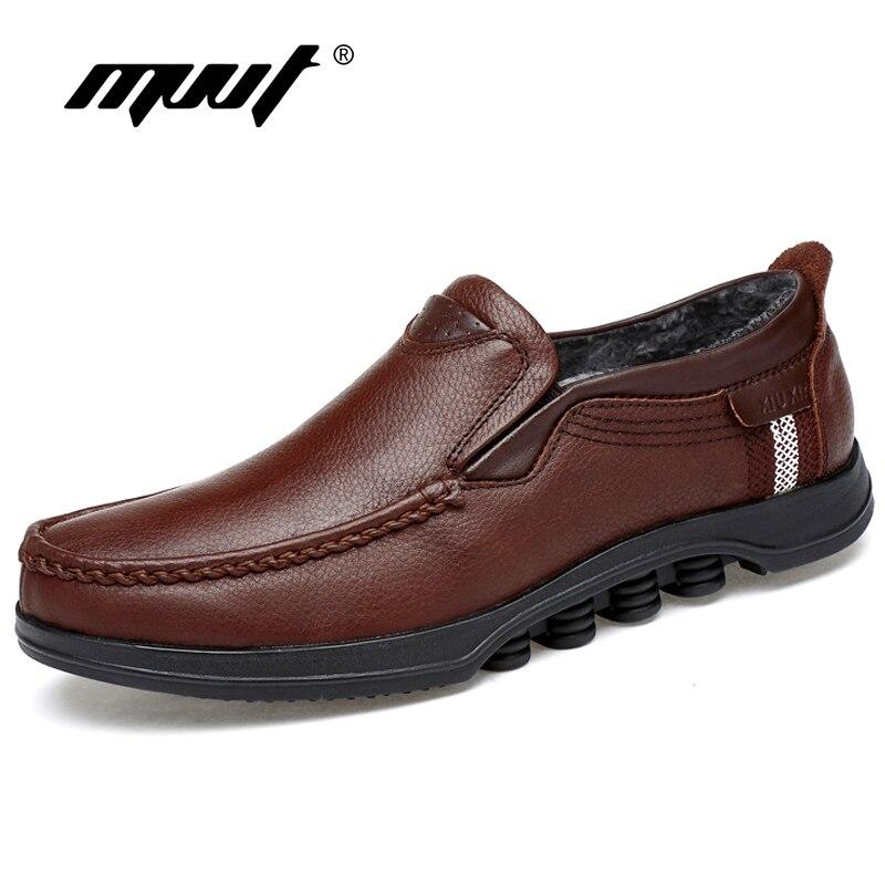 MVVT With Fur Genuine Leather Causal Shoes Plus Size Men Winter Warm Men Oxfords Fashion Men Flats Slip-On Men Shoes